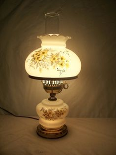 Vintage Milk Glass Table Lamp Night Light, Hand Painted Yellow Rose Boudoir  Lamp, Shabby Chic Bedroom Decor
