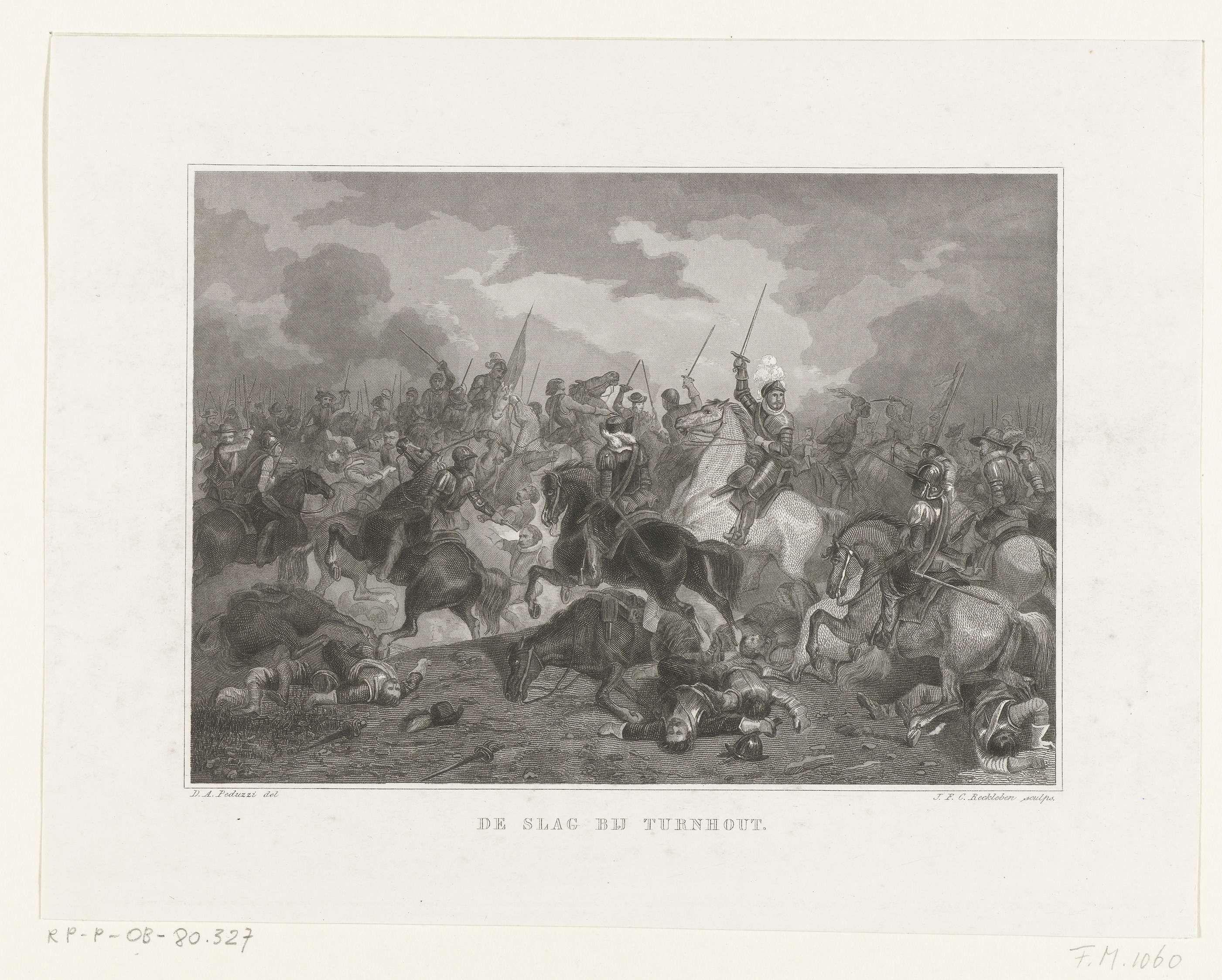Jan Frederik Christiaan Reckleben | De Slag bij Turnhout, 1597, Jan Frederik Christiaan Reckleben, 1855 - 1857 | De slag bij Turnhout, 24 januari 1597. Maurits te paard middenin het gevecht tussen de Staatse en Spaanse ruiters.