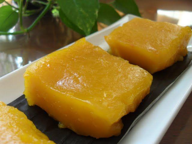 Steamed Pumpkin Kuih Kuih Labu Kukus Steam Pumpkin Asian Desserts Food