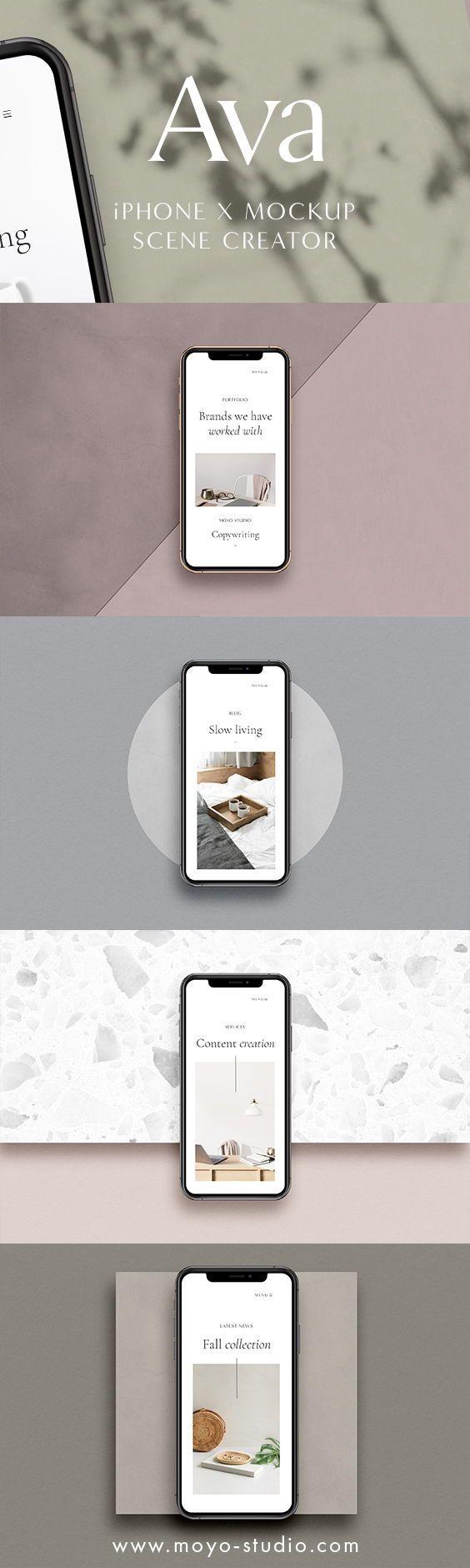 Download Ava Iphone Xs Mockup Scene Creator Moyo Studio Scene Creator Iphone Mockup Iphone Colors