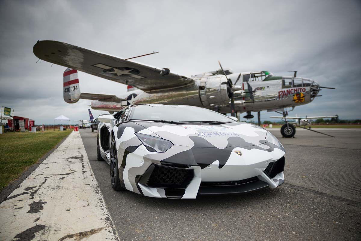Camo Lamborghini Aventador With Classic Military Plane.