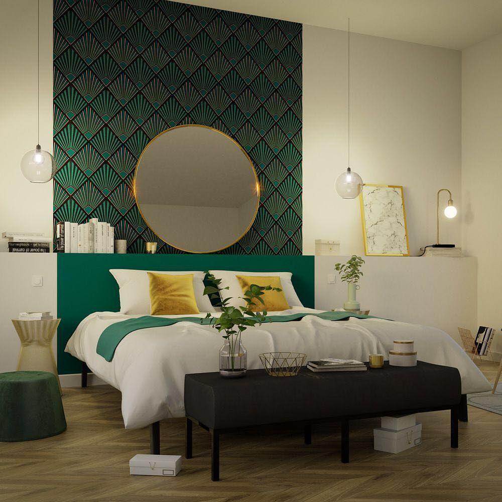 chambre papier peint or gold vert TAMARA  Home decor bedroom