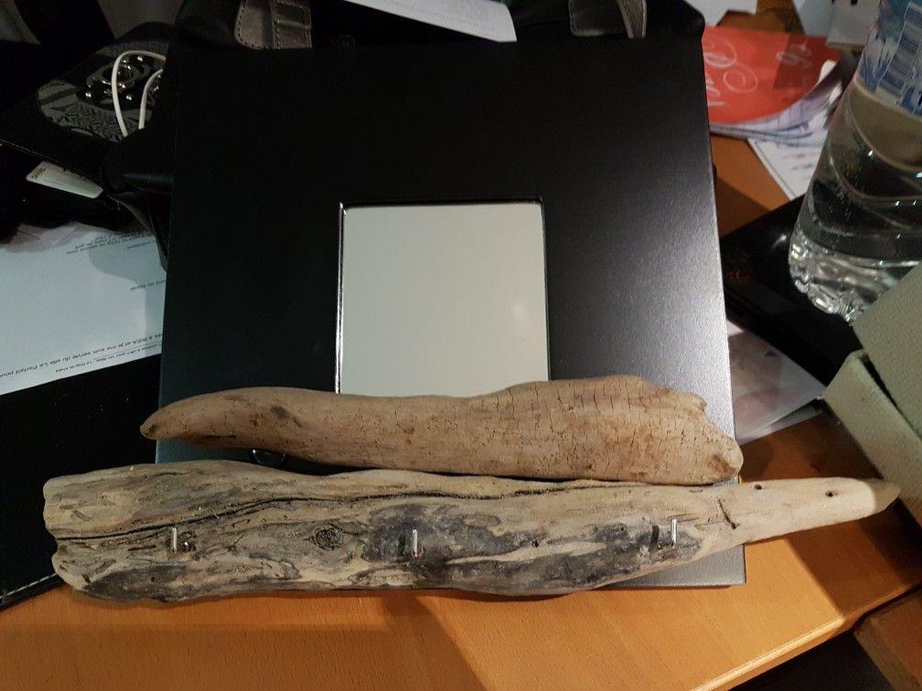 miroir ik a tableau porte cl en bois flott souvenirs. Black Bedroom Furniture Sets. Home Design Ideas