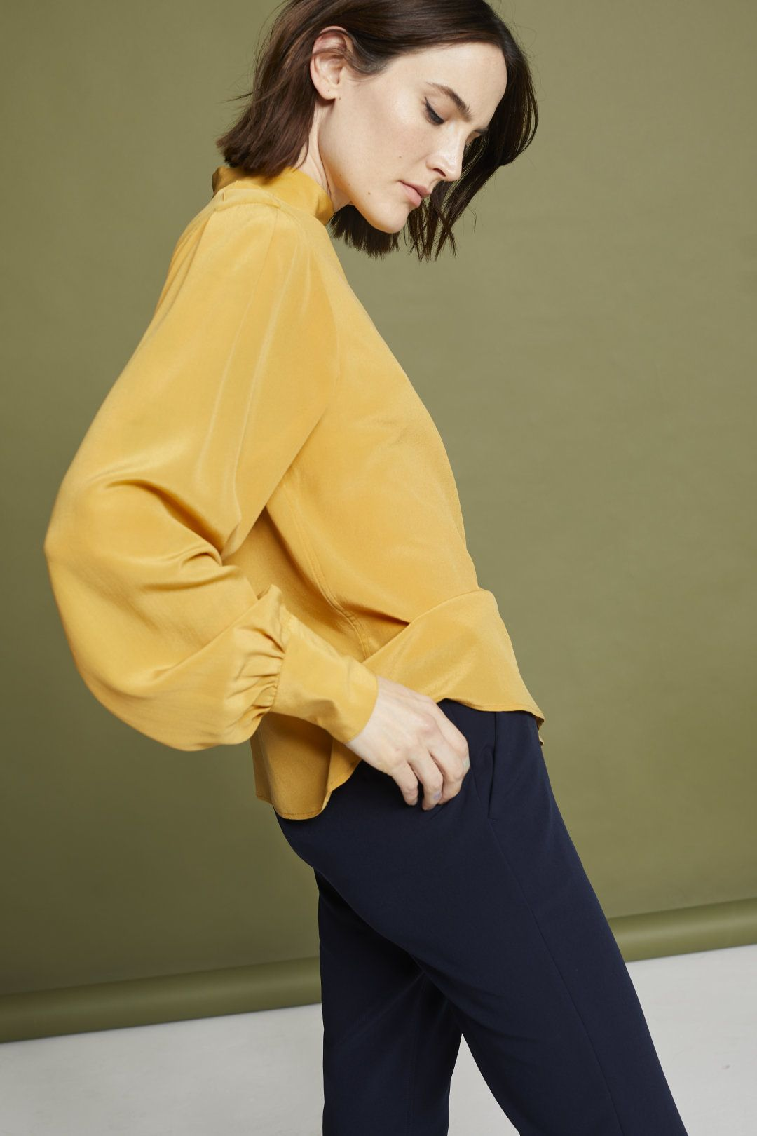 449dd690b20d3 Crêpe de Chine Blouse with Stand-Up Collar in 2019