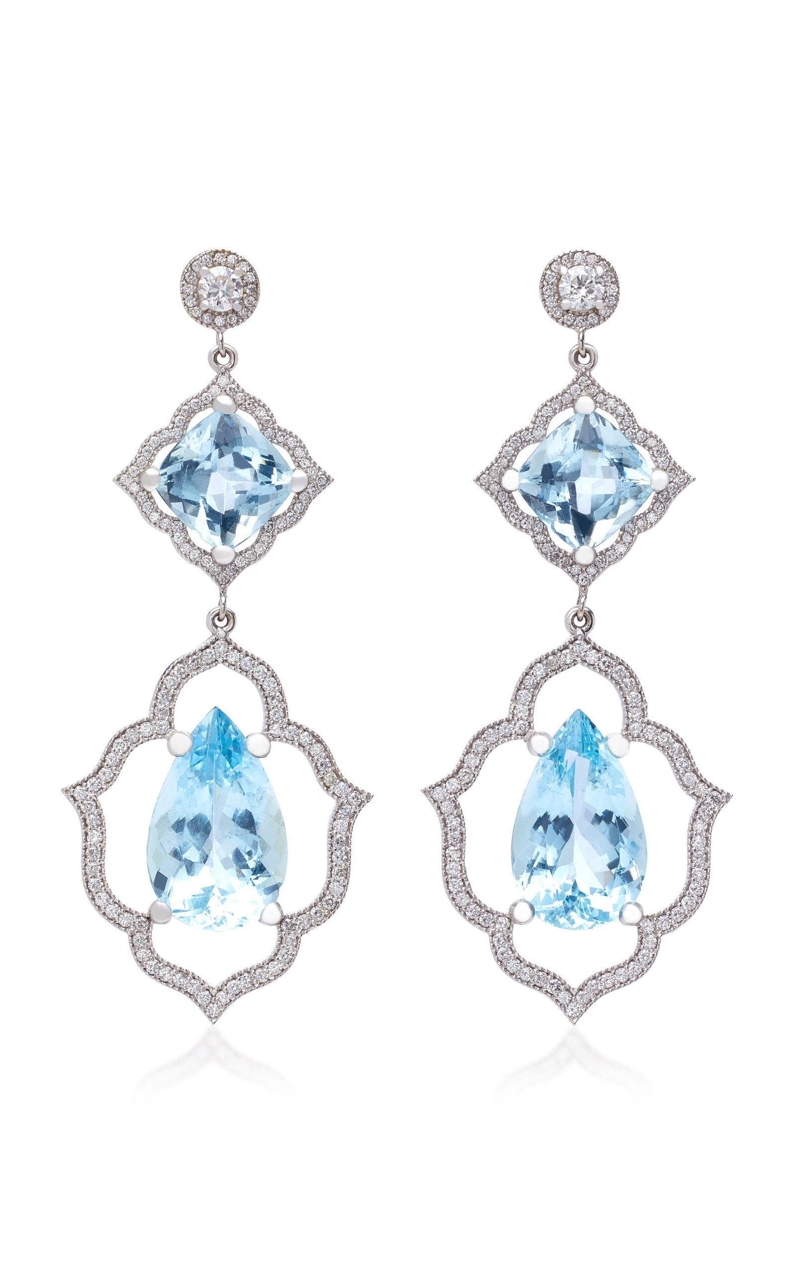 a3c3bfd55edc1c Click Product to Zoom VIEW IN PERSON Sara Weinstock 18K White Gold,  Aquamarine And Diamond Earrings ColorBlue $32,805