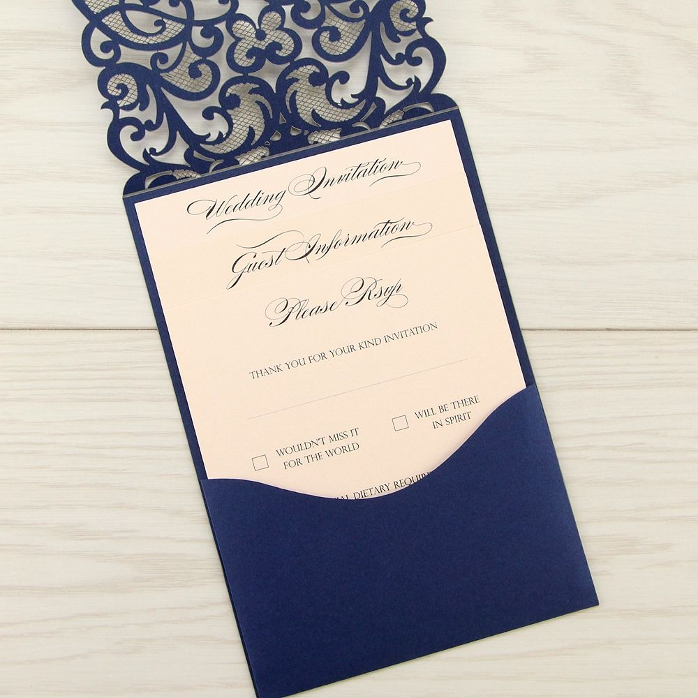 Josephine Laser Cut - Dark Blue | Pure Invitation Wedding Invites ...