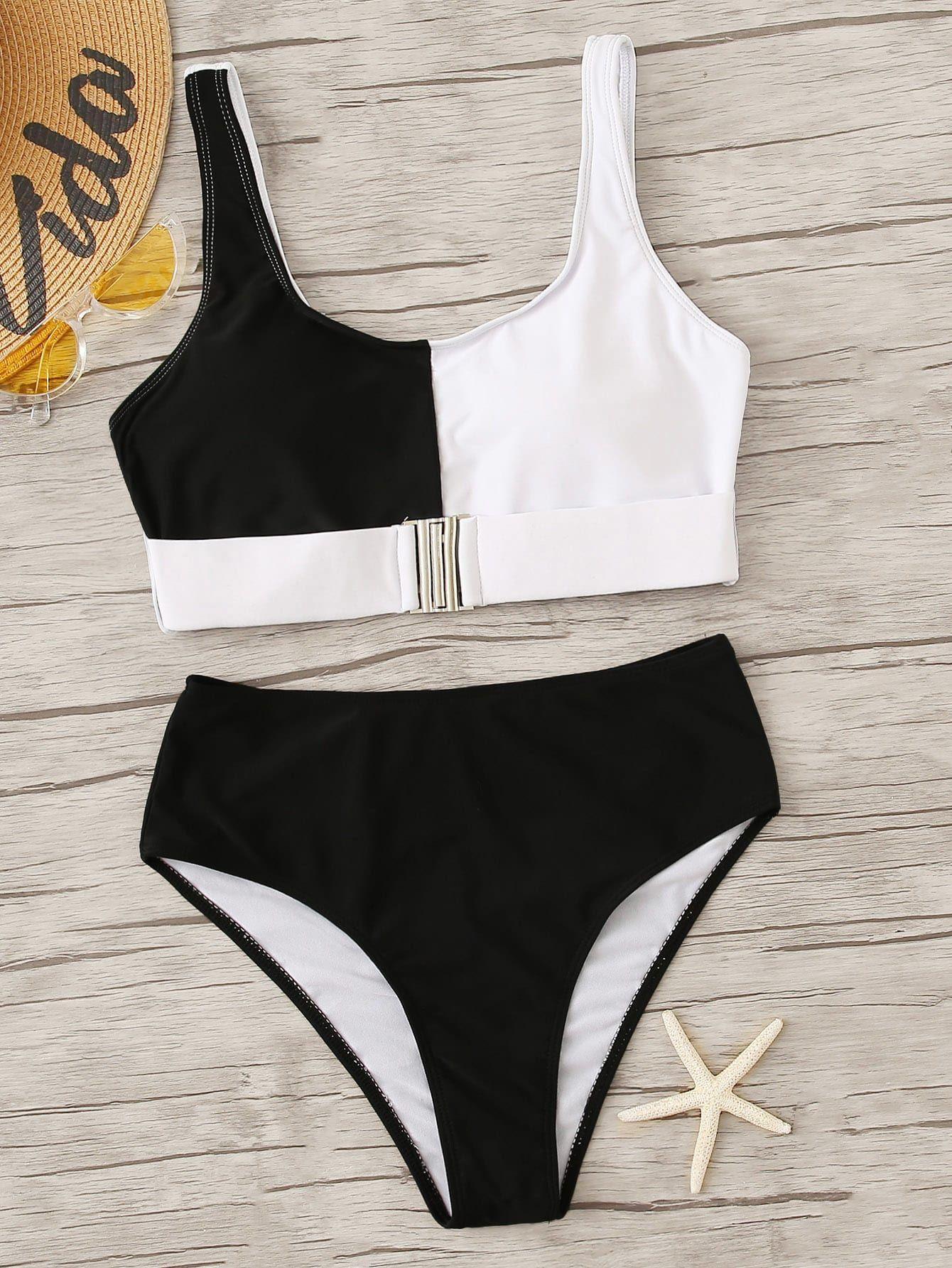 1459b163dc Cut And Sew Buckle Front Top With High Waist Bikini #dress #woman #fashion