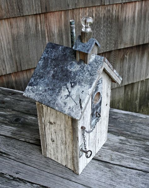 Glass Knob Topper Birdhouse - for indoor use as a beautiful decoration or outdoor use, as, well, a birdhouse ;)