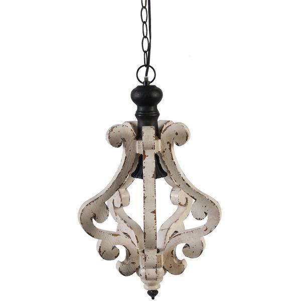 Ivory Scroll Distressed Pendant Light Farmhouse Style Lighting