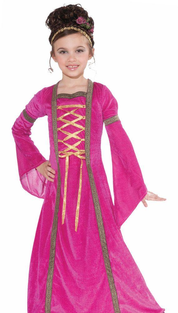 Kids Girls Pink Medieval Princess Halloween Costume Halloween - cute childrens halloween costume ideas