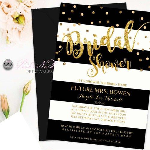 2ba15919e48 Elegant glitter gold bridal shower invitation Glitter gold black and white…