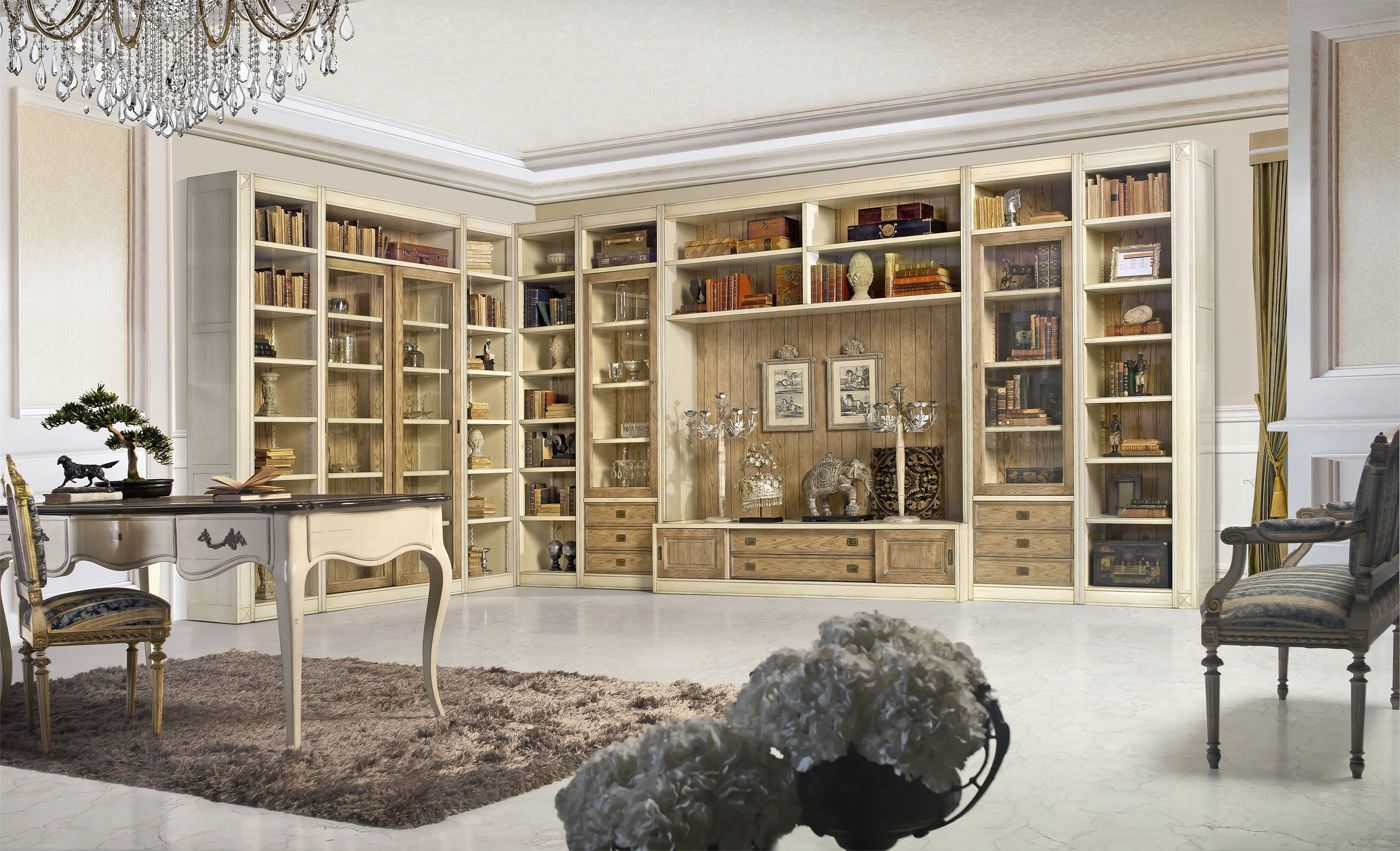 Biblioteca alta en esquina cl sica de madera - Bibliotecas de madera ...