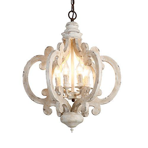 Lovedima Rustic Vintage Iron Wooden Chandelier 6 Light Candle Hanging Ceiling Light In Distressed White Wood And Metal Chandelier Wooden Chandelier Hanging Ceiling Lights
