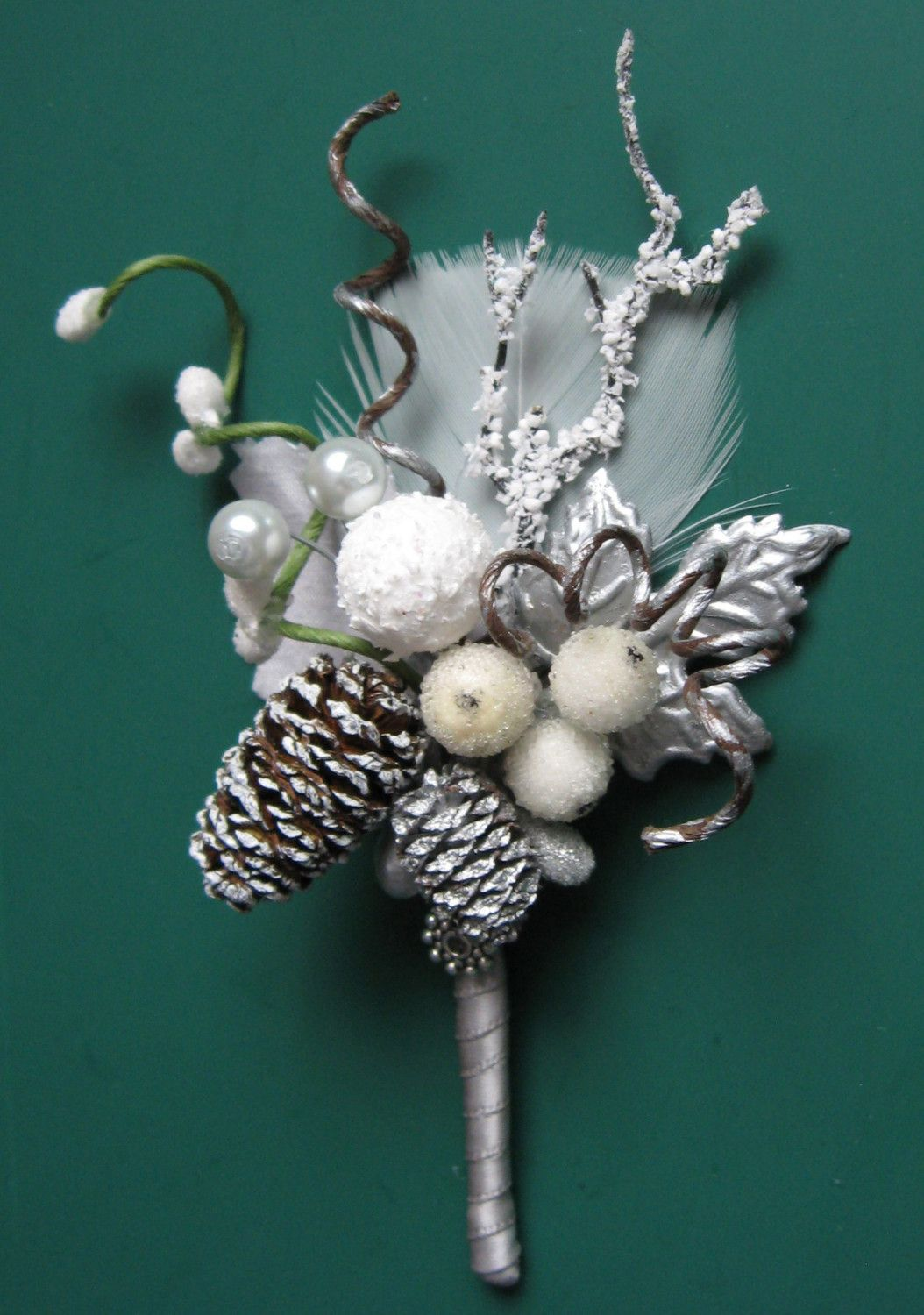 winter/christmas themed weddings | WONDERLAND Christmas/winter boutonniere by ericacavanagh on Etsy