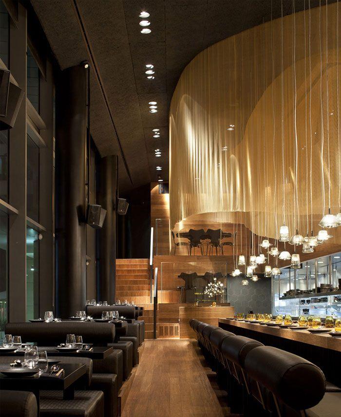 Restaurant Interior Decorating In Golden Color Scheme Bar Design Restaurant Restaurant Architecture Modern Restaurant