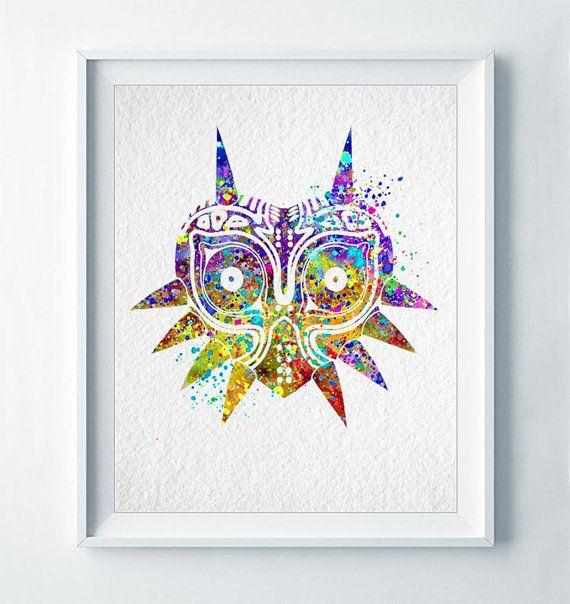 Majora\'s Mask Legend of Zelda Art Print Abstract Watercolor Art Link ...