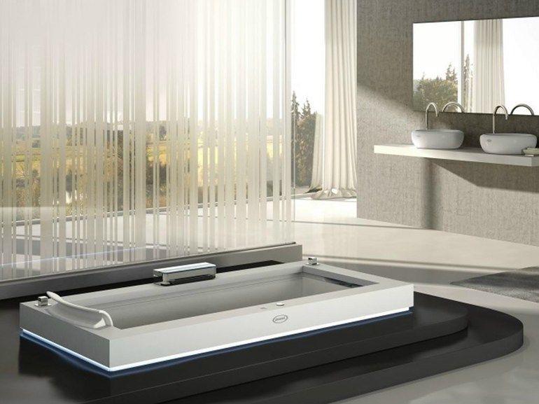 Baignoire hydromassage encastrable en corian aura uno corian by jacuzzi europe design carlo - Corian salle de bain ...