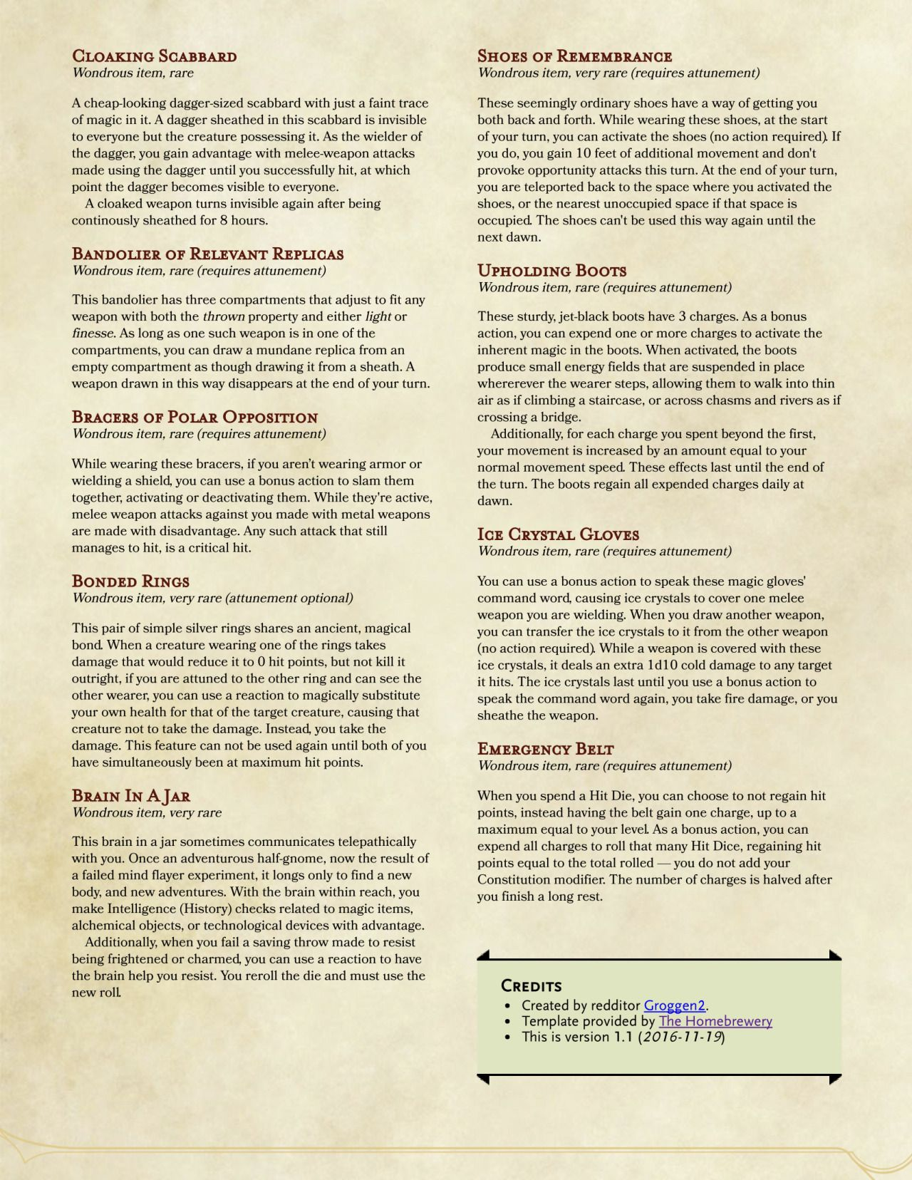 Dnd 5e Homebrew Non Weapon Items By Groggen2 Dm Helpers In 2019