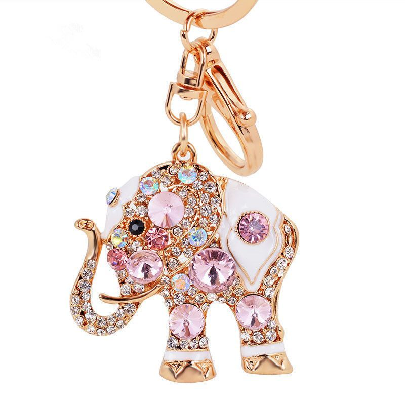 Crystal Elephant Keychain Rhinestone Keyring Car Key Chain Ring Charm Red