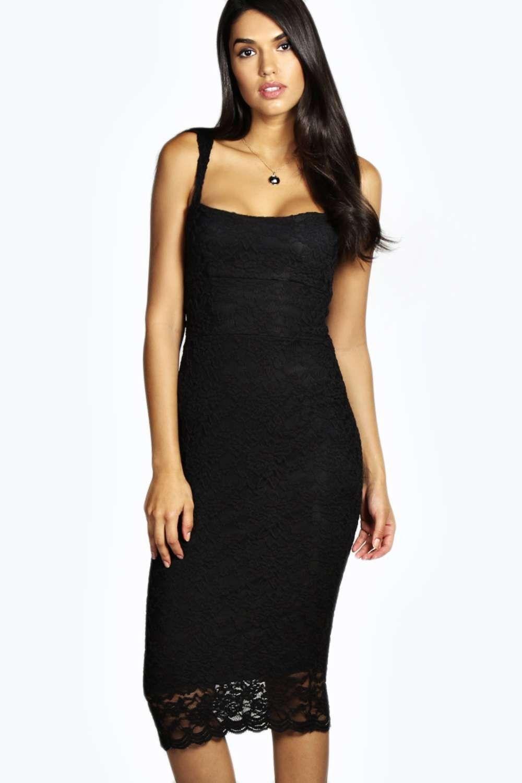 Black dresses for wedding  Jess Robe Midi En Dentelle À Col En Cœur  Boohoo  Pinterest