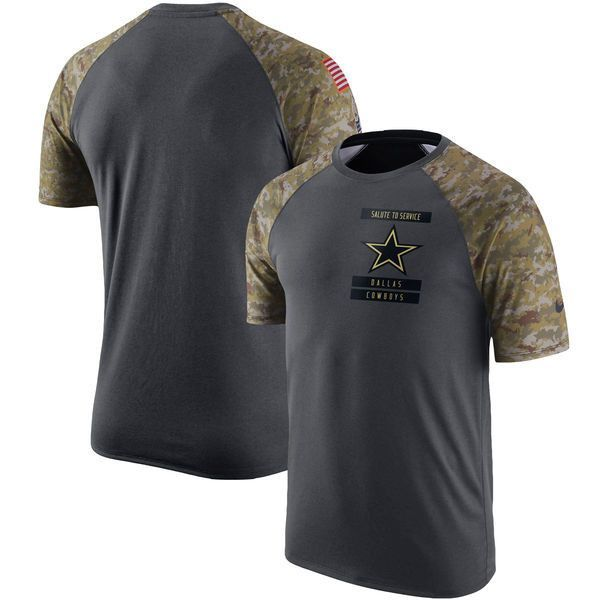 Dallas Cowboys Mens Nike Anthracite Salute to Service Performance Raglan T- Shirt