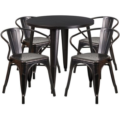 30 round black antique gold metal indoor outdoor table set with 4