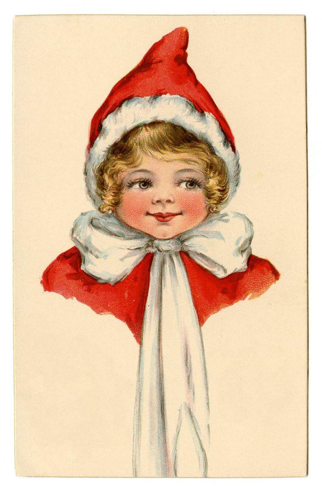 Vintage Christmas Clip Art Adorable Elf Girl The Graphics Fairy Christmas Ephemera Vintage Christmas Cards Christmas Postcard