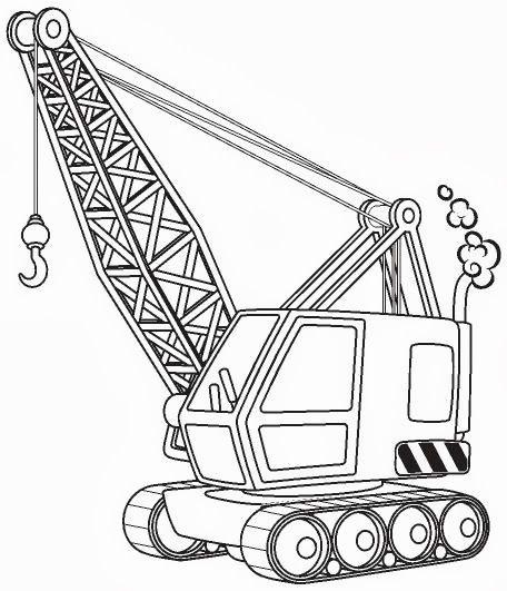 Construction Crane Coloring Page Omalovanky Sablony Obrazky
