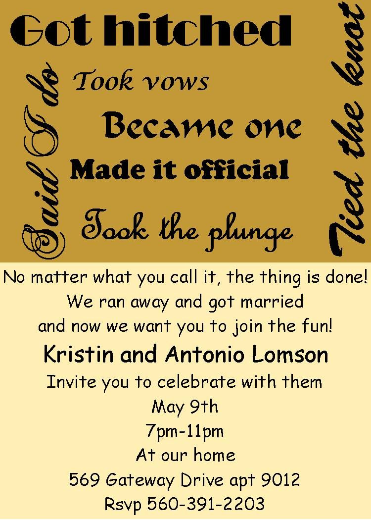 Elopement Party Invitations Got Hitched Tied The Know Took