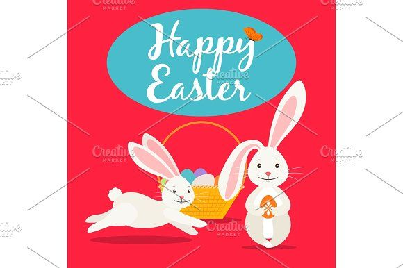 Happy easter cute greeting card Graphics Happy easter greeting - easter greeting card template