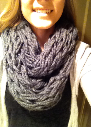 Grey Knit Infinity Scarf