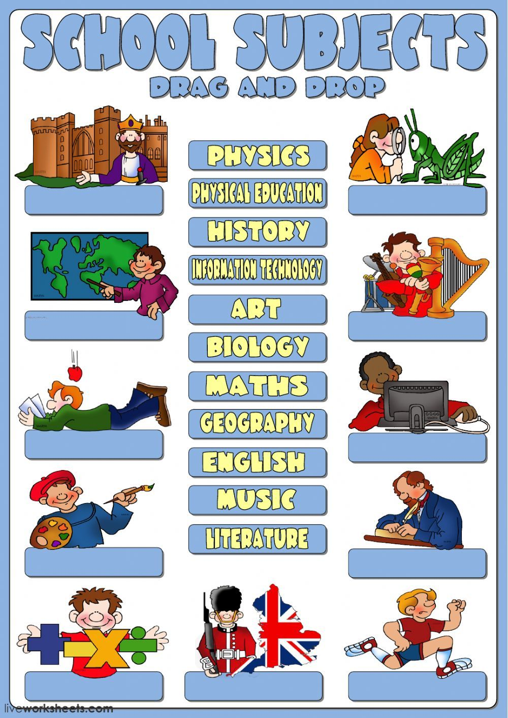 School Subjects Interactive And Downloadable Worksheet You Can Do The Exercises Online Or Download The Worksheet As School Subjects School Worksheets Subjects