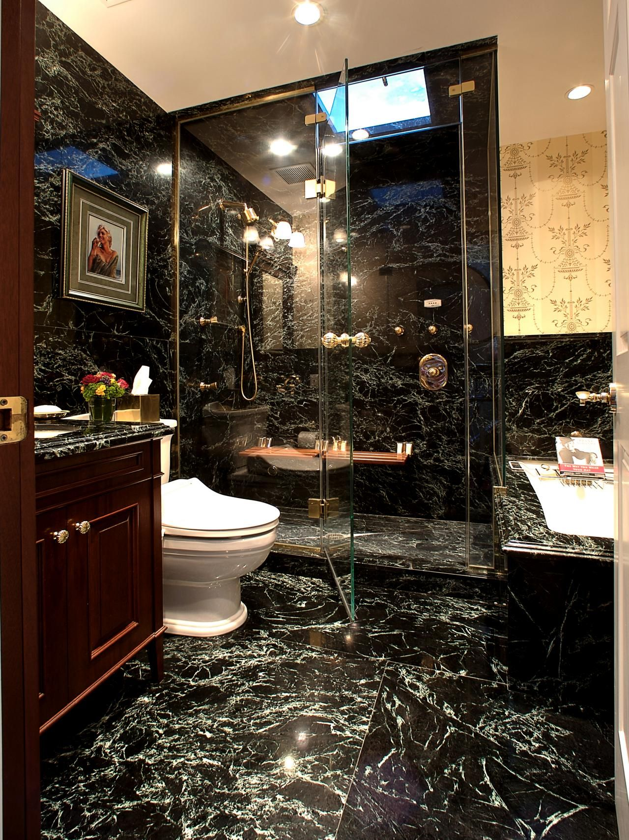 Elegant Marble Bathroom With Glass Enclosed Shower And Gold Fixtures Black Marble Bathroom Masculine Bathroom Design Masculine Bathroom