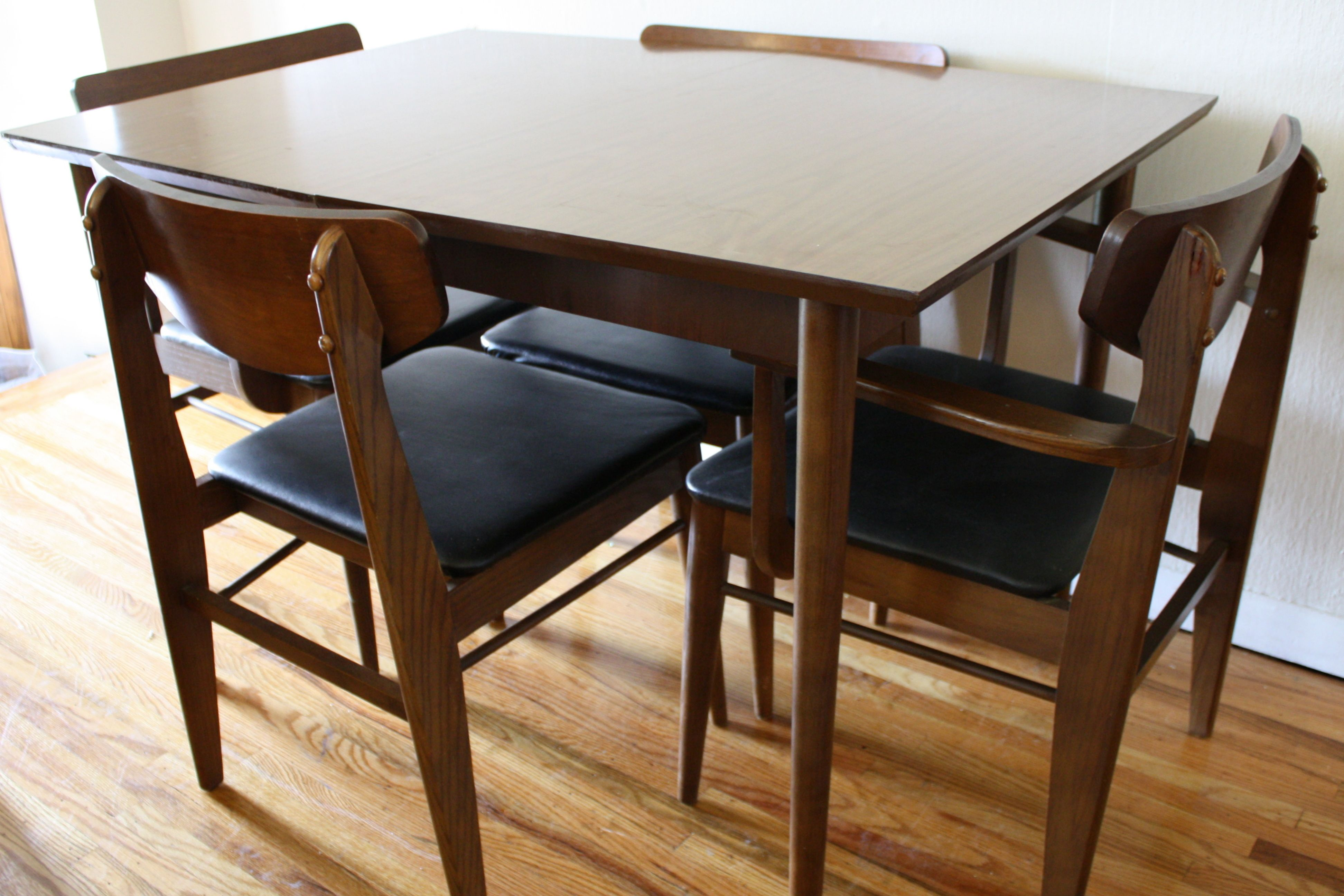 Mid Century Modern Dining Table With Extension Leaf Midcentury