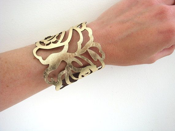 Leather cuff bracelet - laser cut rose in metallic gold (from EmilydeMolly on etsy.com)