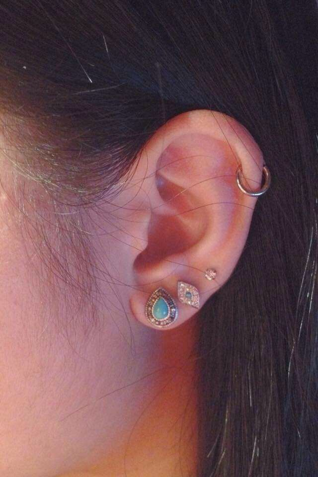 My Ideal Placement Cartilage With A Hoop And Double Lobe Stud Ear Piercings