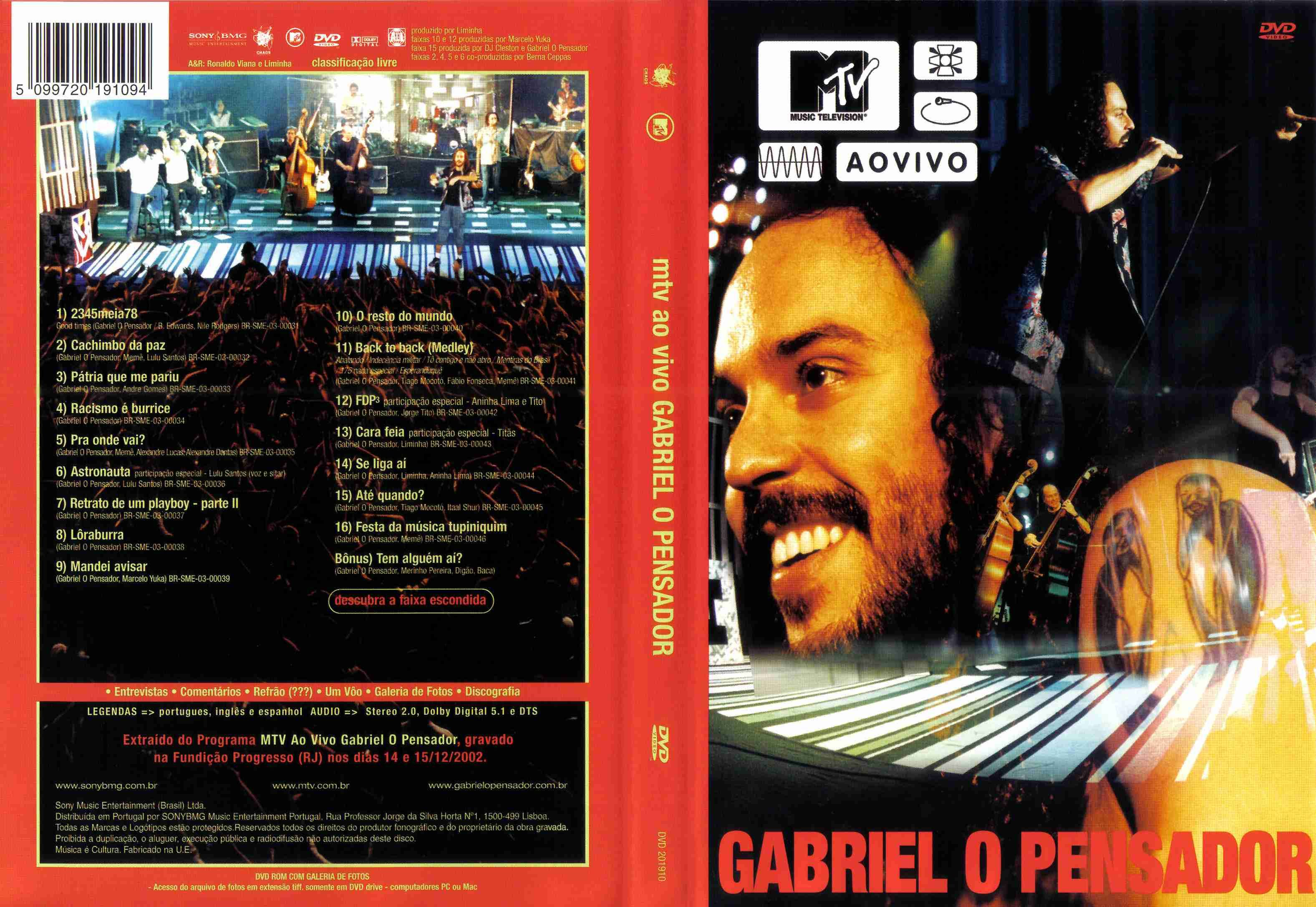 cd gabriel o pensador mtv ao vivo