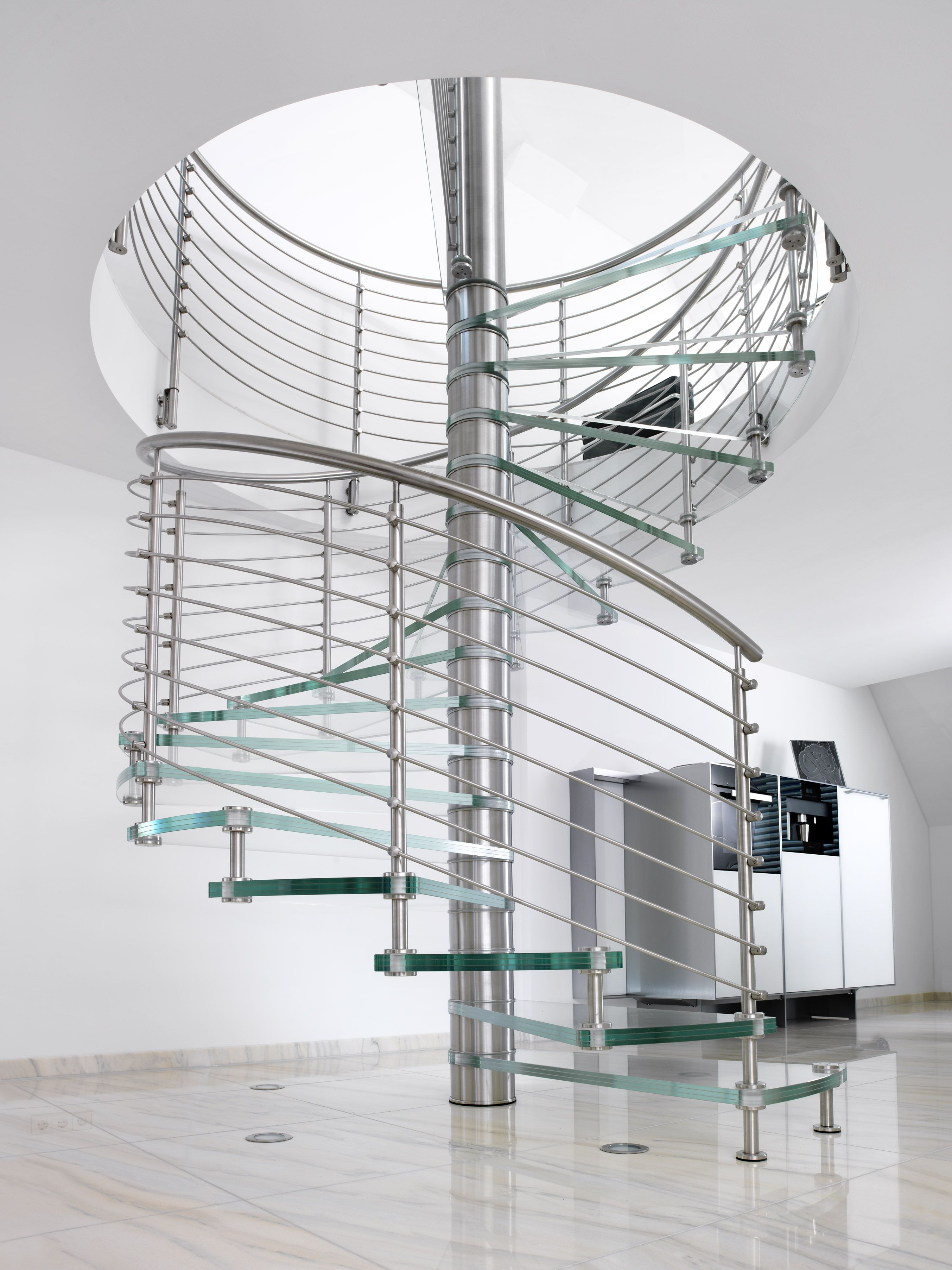 Best Spiral Stair With Glass Treads And Brushed Stainless Steel 400 x 300