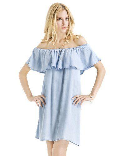 6bd6629338d Blue Off Shoulder Ruffle Denim Shift Dress