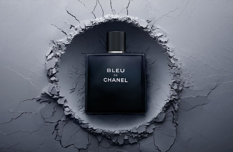 Bleu De Chanel fragrance perfume eau de parfum creative still life photography. Luxury goods still life photographer,Josh Caudwell. For product and editorial photography.London, New York, Paris, Milan.