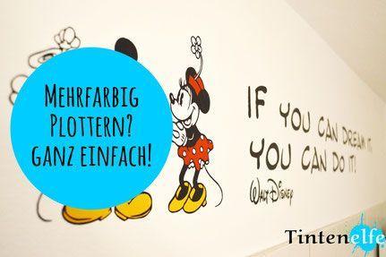 Blog Tintenelfe.de - Plotterliebe am Freitag - Mehrfarbig plottern und ein Blick ins Kinderbadezimmer #silhouette #mickeymouse #plotter #plottertipp #tutorial #cameo #badezimmer #bathroom