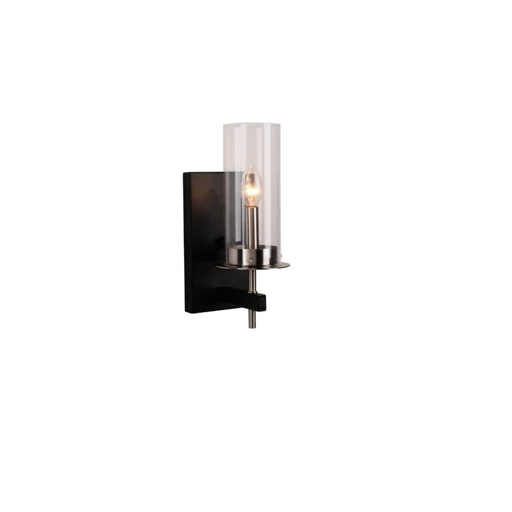 Alsy 1 Light Black And Nickel Wall Sconce 20538 001 The Home Depot Sconces Wall Sconces Wall Sconce Lighting