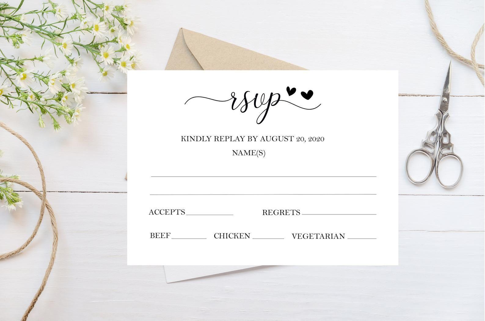 wedding rsvp card response card wedding invitation