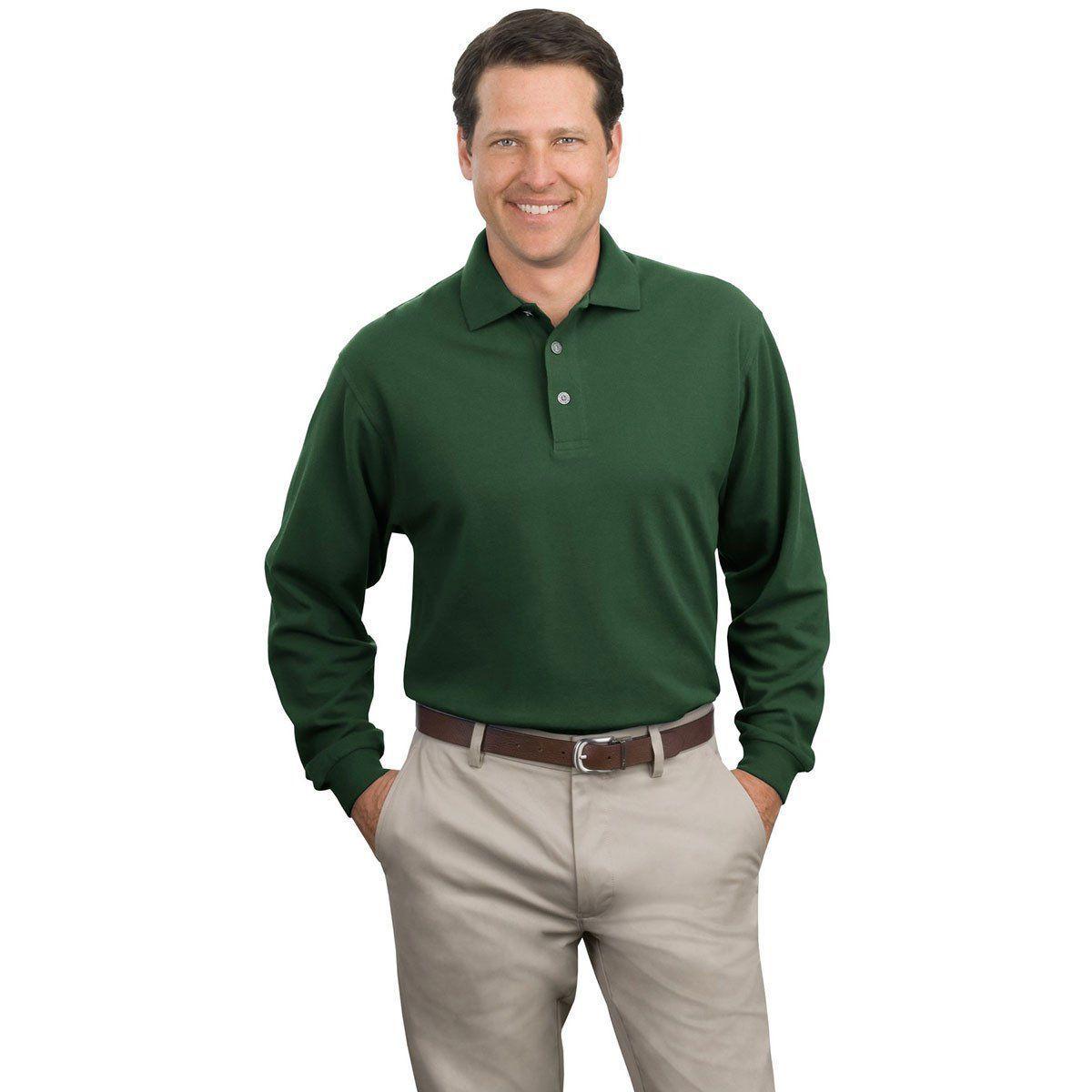 Port Authority Men's Dark Green Long Sleeve Pique Knit Polo   Long ...