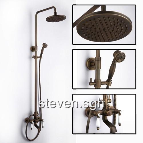 Two Porcelain Handles Antique Brass Mixer Shower Valve Set Fg 98 Shower Faucet Sets Shower Faucet Rustic Bathroom Faucets
