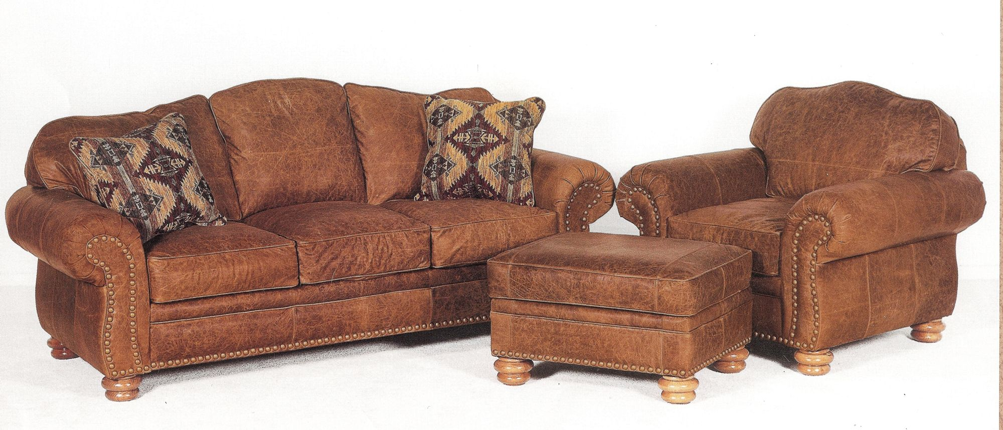 Acid Washed Distressed Leather Sofa And Chair And Ottoman With Rustic  Nailhead Trim And Double Bun Feet