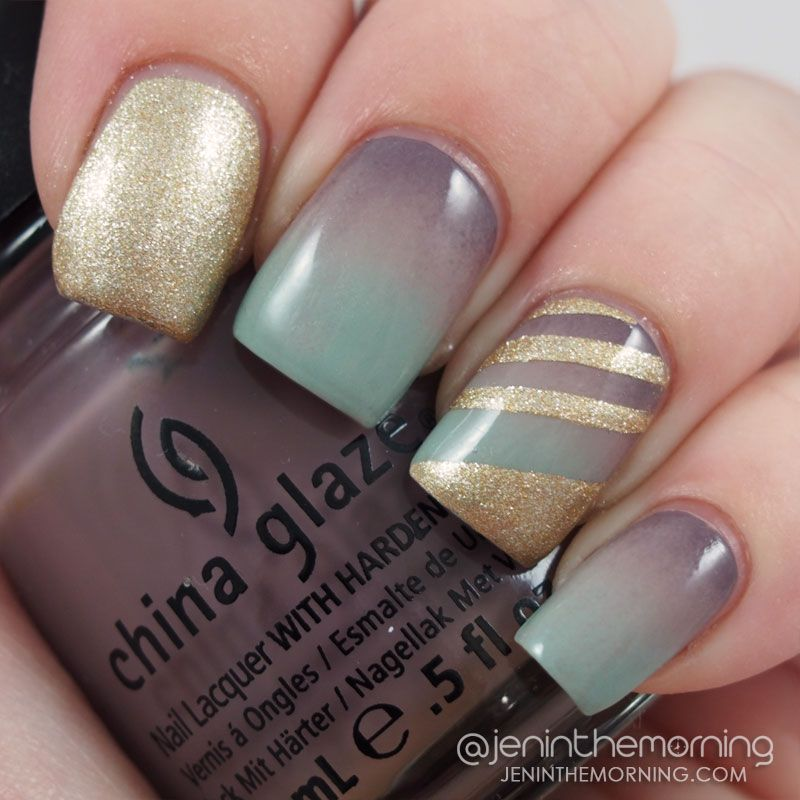 Stormy Fall Gradient manicure with striped accent  #nail #nails #manicure #mani #glammymani #stripes #gradient