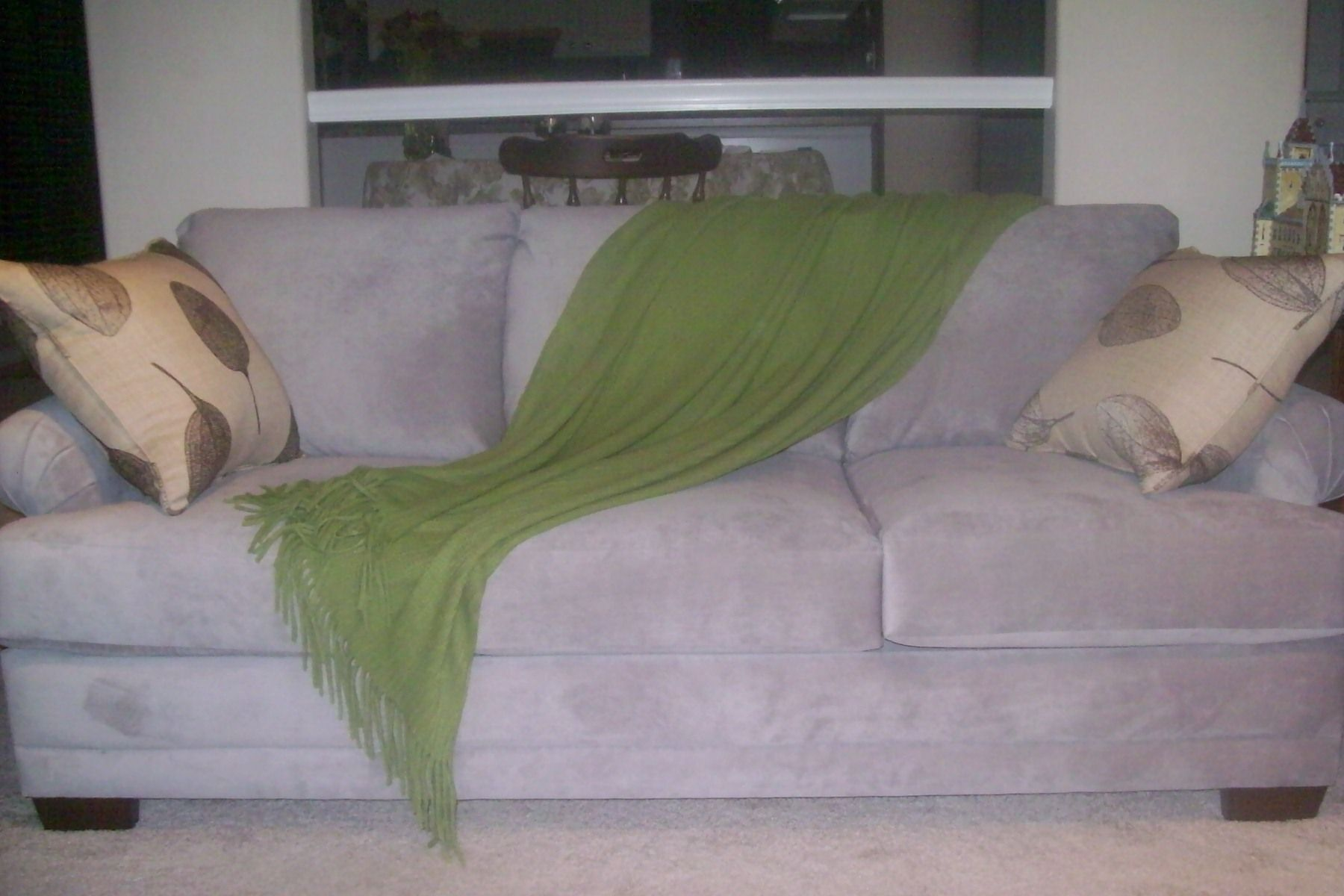 Our Brand New Couch With Lime Green Blanket, And Two