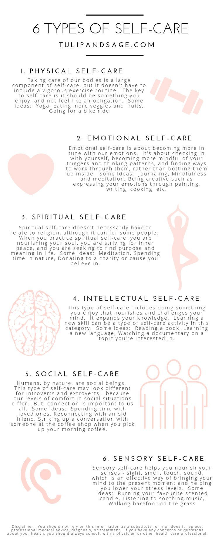 6 Types of Self-Care & Ways to Practice Them | Tulip and Sage #self-care