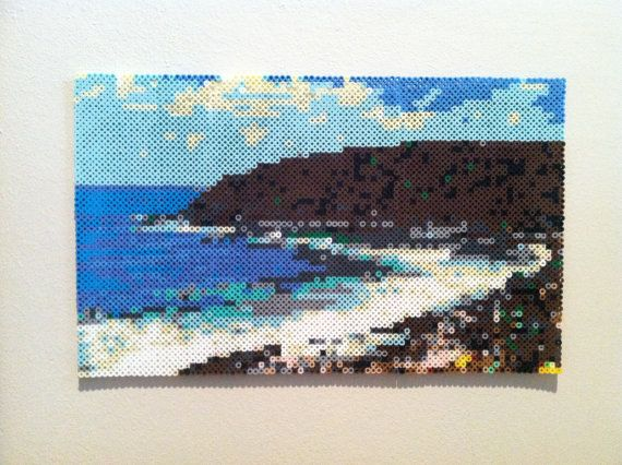 "Ocean Shore Seascape perler beads Hanging Wall Art by SweetLolitas. This piece measures 16"" by 10"" and is made from over 4000 individual beads."